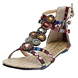 Oasap Womens Boho Bejeweled Ankle Straps Buckled Summer Flat Sandals
