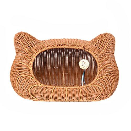 Casa para Mascotas Cama para Mascotas Casa para nidos de Gatos Jaula para Gatos Perrera para Mascotas Perros para Mascotas Ratán Interior (Color : Brown, Size : 55 * 33 * 35cm)