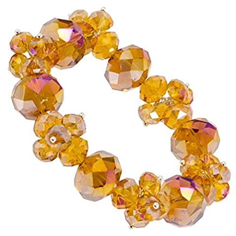 Golden Brown Aurora Borealis Crystal Bead Stretch Bracelet by Heirloom Finds