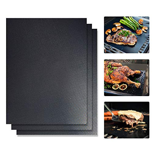 ten, 3er Set Grillmatte Wiederverwendbar Antihaft Grill-und Backmatte Perfekt für Fleisch, Fisch und Gemüse - 40x33 cm ()