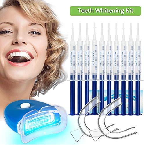 Teeth Whitening Kit Dental Bleaching Professionelle Zahnaufhellung-10x 3ML Whitening GEL, 2x Mouth Trays, 1x LED Light, 1x Lab Dip and 5x Free Teeth Wipe, MEHRWEG -