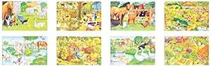Foud'bois - 13050.0 - Puzzle En Bois - Set De 4 - Boîte - Thème Ferme - 48 Pièces