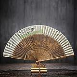 ALXC- Hand-Folding Fan Folding Fan Chinesischen Stil Antike Weibliche Fan handbemalte Fan Geschnitzt Fan Bone Handwerk Fan Geschenk Fan (22-39 cm) (Farbe : A)