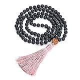 JOVIVI 6mm 108 Perlen Lavastein Tibetisches Buddha Armband mit Rudraksha Wickelarmband Buddhismus Mala Kette Gebetskette Energietherapie Yoga Halskette Schmuck
