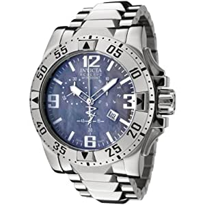 Invicta Men's Quartz Watch with Mother of Pearl Dial Chronograph Display and Silver Stainless Steel Bracelet 6258