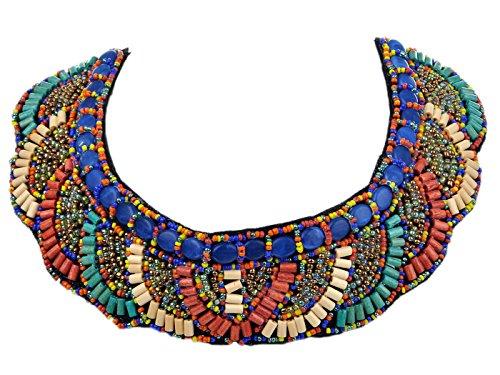 Gewellte Blaugrün Beige Orange Noda Halskette mit Perlen, Tribal Inspiriert