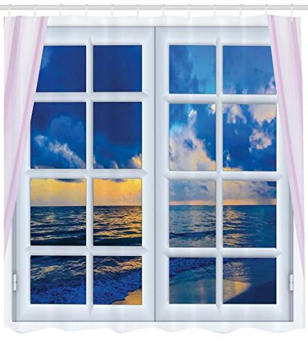 ABAKUHAUS Landschaft Duschvorhang, Sonnenuntergang Meer Landschaft, Set inkl.12 Haken aus Stoff Wasserdicht Bakterie und Schimmel Abweichent, 175 x 200 cm, Blau-weiß - Meer Duschvorhang-sets