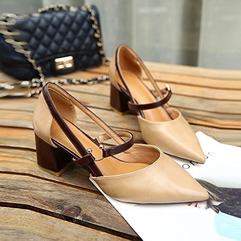 LGK&FA Sandalias De Tacón El Fuerte De Baotou Zapatos 35 Color Albaricoque