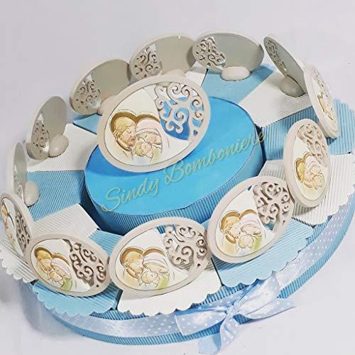 Sindy bomboniere icone sacre su torta in resina raffigurante la sacra famiglia evento battesimo nascita cresima prima comunione maschietto (torta da 12 fette)