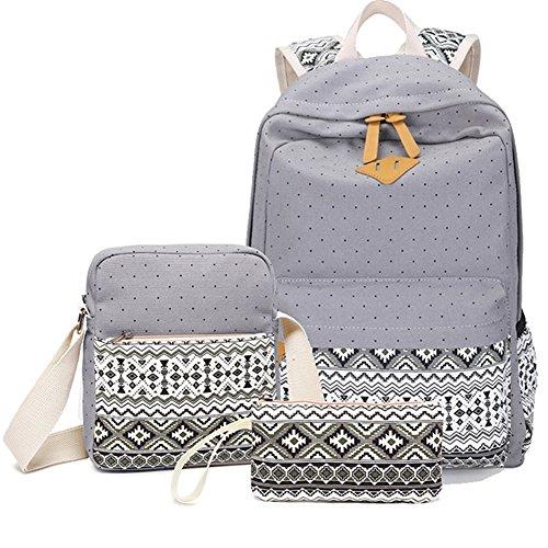Schulrucksack + Kühltasche + Mäppchen Schultaschen 3 Set aus Canvas für Jungen Mädchen in der Schule Freizeit Grau
