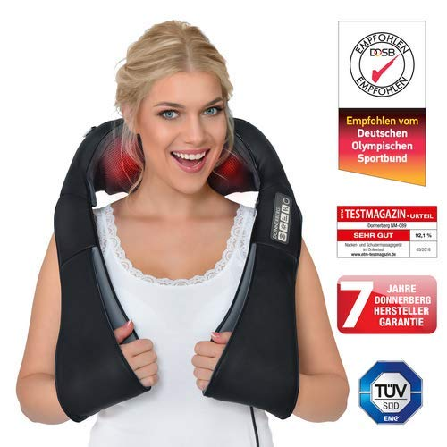 ORIGINALE- Massaggiatore cervicale e da collo Donnerberg-7 anni di garanzia-Massaggiatore schiena-Qualità tedesca-Calore a infrarossi e vibrazione-Per casa,ufficio e viaggio