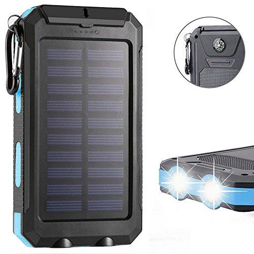 KANGLE Solar Ladegerät Power Bank 20000 Mah Tragbare Dual USB 1.0A/2.1A Max IP68 Wasserdichte Kompass LED SOS Taschenlampe Für iPhone, iPad, Samsung Galaxy, Android Phone,Blue