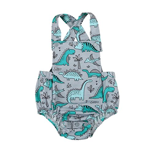 SHOBDW Girls Rompers, Baby Boys Fashion Camouflage Print Sleeveless Bib Shorts Summer Cotton Jumpsuit Gifts Newborn Infant Party Photo Clothes (18-24 Months, Dinosaur)