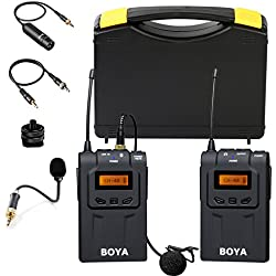 Sistema de micrófono lavalier inalámbrico omnidireccional profesional BOYA BY-WM6 UHF con micrófono microonda BY-UM2 Entrevista para cámara réflex digital Nikon D3300 EOS T6i de Sony Videocámaras Panasonic A9