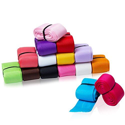 HABI 40 Meter DIY gepunktet und mehrfarbig Grosgrain Bändern Geschenk Bänder mit gepunktet 15 Farben. Jede Farbe Set ca. 3 m