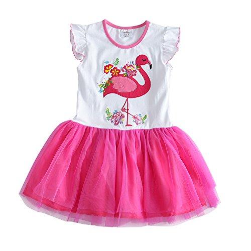 VIKITA Mädchen Kleider Sommerkleid Blume Baumwolle Lässige Kinderkleidung Gr. 92-128 SH4558 7T