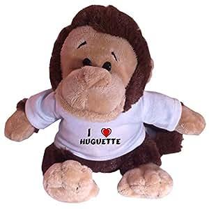 Peluche singe avec un T-shirt: J'aime Huguette (Noms/Prénoms)