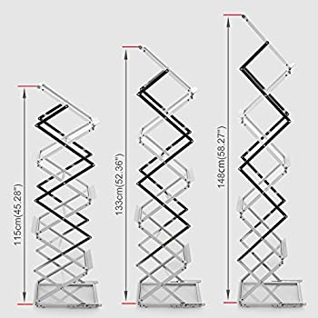 Voilamart A4 Exhibition Stand, 6-section Display Stand Double Sided Shelves Folding Floor Display Stand Portable Magazine Brochure Literature Leaflet Holder Catalogue Reference Racks For Exhibition Trade Show Showroom Reception With Carry Case, Silver 148x35 X27cm 2