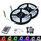 VINGO® 10m(2x5) LED Strip RGB SMD5050 LED Streifen Lichtband Wohnzimmer Gästezimmer Wasserdicht Streifen Band mit Fernbedienung Trafo Bunt Lichterkette
