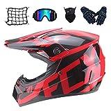 AA-Helmet TOKU Motorrad-Crosshelm für Frauen, Motocross-Helm-Set (4-teilig) mit...