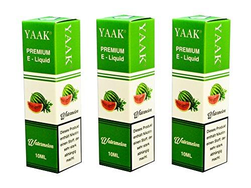 YAAK® Premium E-Liquid / Liquid 3 x 10 ml Wassermelone ohne Nikotin / E-Zigaretten, Elektrische-Zigarette, E-Shisha / Geschmacksaroma Watermelone Ziel Nikotin