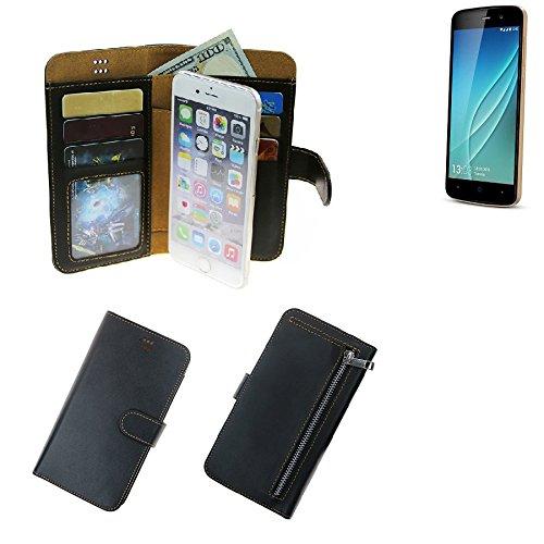 K-S-Trade® Für Allview P6 Lite Portemonnaie Schutz Hülle Schwarz Aus Kunstleder Walletcase Smartphone Tasche Für Allview P6 Lite - Vollwertige Geldbörse Mit Handyschutz