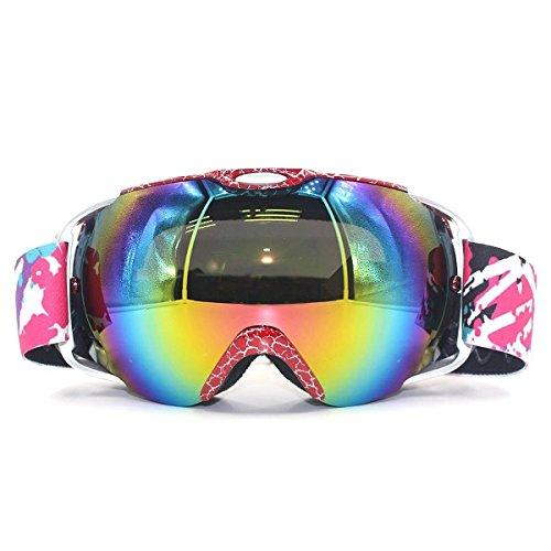 VILISUN Maschera Sci Snowboard, Occhiali da sci,sub-visione anti-nebbia anti-vento anti-riflesso a doppio strati con protezione UV 400 e l'isolamento resistente alla polvere, CUSTODIA FREE(Rosso)