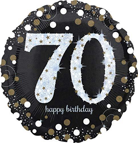 amscan 3374101 Folienballon 70 Sparkling Birthday, Schwarz, Silber, Gold (Bis Ballons Kostüm)