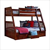 Twin Over Full Mission Bunkbed in Merlot by DONCO
