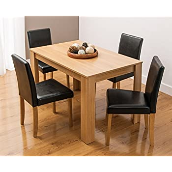 This Item Dining Table And 4 Chairs With Faux Leather Oak Furniture Room Set