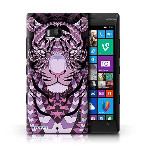 Coque en plastique pour Nokia Lumia 930 Collection Motif Animaux Aztec - Loup-Cramoisi Tigre-Pourpre