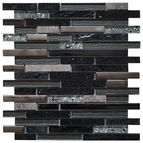 Edelstahl Marmor Glasmosaik Matte Schwarz/Silber Stäbchen Mosaik Fliesen Metall Bad Küche M447 -