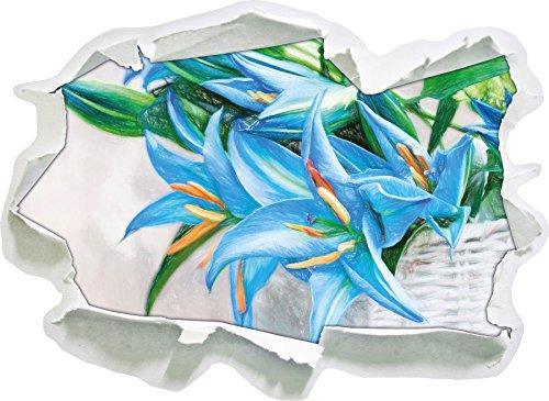 schöne blaue Blumen im Körbchen Kunst Buntstift Effekt, Papier 3D-Wandsticker Format: 62x45 cm...