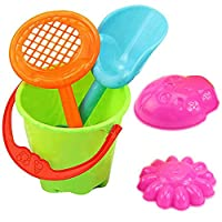 cA0boluoC Beach Sand Toy Set, Seaside Sand Castle Bucket Spade Shovel Rake Playset, Summer Outdoors Model Tool Kit for Kids Children