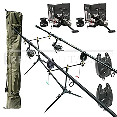 Complete Carp Kit with 2 x 12ft 2.5tc Rods, 2 Reels with line, 2 Bite Alarms, Pod, 2+2 Rod Holdall from REDWOODTACKLE