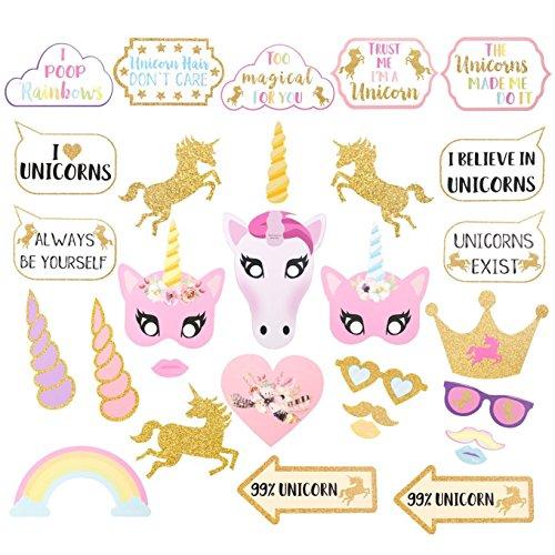 Losuya Regenbogen Unicorn Fotorequisiten Photo Booth Props Masken Einhorn Party Supplies für Urlaub Hochzeit Party Favors, 30 Stück (Hochzeit Party Favor)