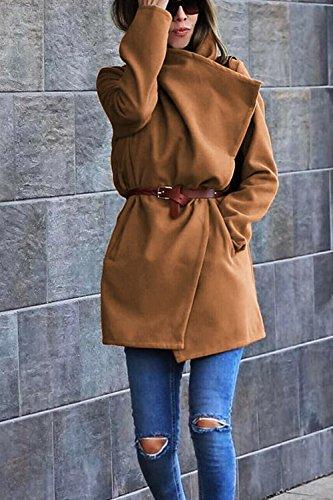 Les Femmes Large Revers Streetstyle Automne - Hiver Simple Cardigan Manteau Vêtements Kaki