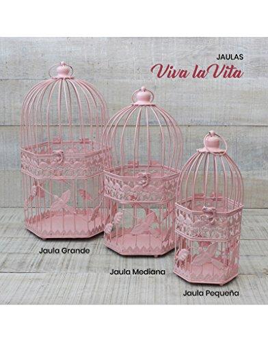 Jaula decorativa Rosa de metal para decoración - Diseño elegante France - Modelo Viva la Vita- Hogar y Mas - Mediano