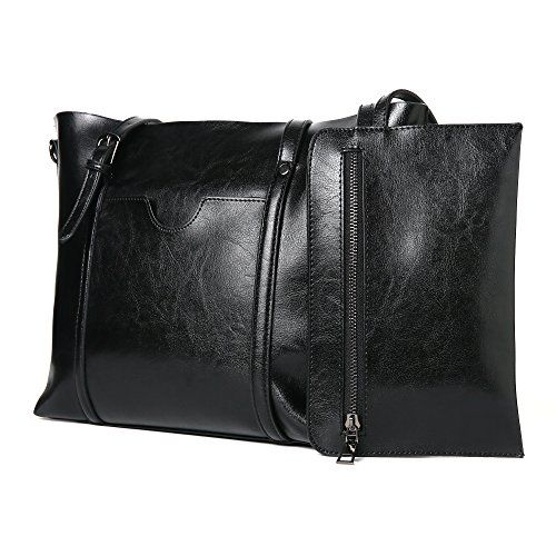 Frauen Tasche Casual Vintage Schultertasche Handtaschen Tote Geldbörse(BrightBlack) (Kosmetik Tote Tasche)