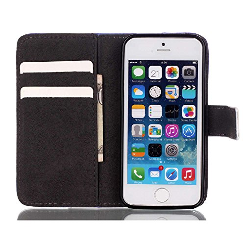 Hülle für iPhone SE, Tasche für iPhone 5 5S, Case Cover für iPhone 5 5S SE, ISAKEN Malerei Muster Folio PU Leder Flip Cover Brieftasche Geldbörse Wallet Case Ledertasche Handyhülle Tasche Case Schutzh Blume Schwarz