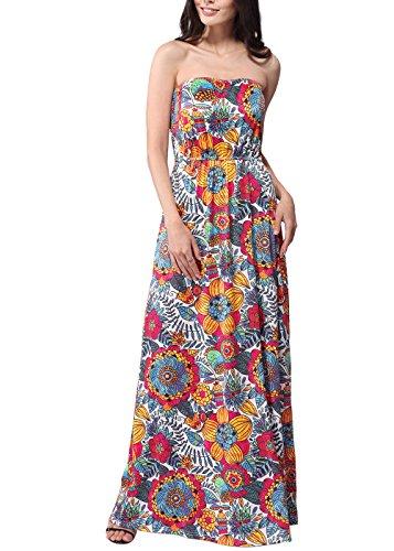 Vestito Floreale Lungo Donna Casuale Boho Hippie Abito Senza Spalline Bustier Vestiti Estivi Ragazza Elegante Abiti da Spiaggia Cocktail Cerimonia Sera – Landove color 15