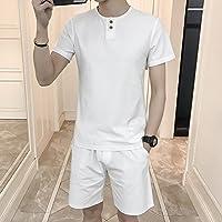 WLG Pantalones Cortos de Los Hombres de Sección Delgada de Algodón Y Lino de Manga Corta Camiseta Casual Deportes Verano Pantalones Cinco Traje,Re,XXXXL