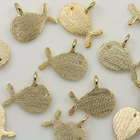 4pezzi di perline oro opaco Balena Pesce ciondoli Connettori Links metallo perline ciondolo per collana e orecchini bracciali, ecc. Gioielli forniture–Annielov #