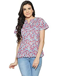 Bombay High Women's 100% Cotton Rollup Sleeves Printed Shirt