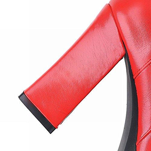 Zipper Curto Planalto Alto Botas De Femininos Vermelhas Eixo Mee Calçados Salto qXx0w6B