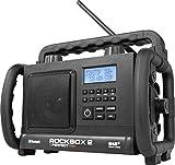 PerfectPro Rockbox 2 Baustellen-/Outdoorradio mit DAB+, AUX, Bluetooth, UKW-RDS, LCD-Display, Uhr, 4 Zoll Lautsprecher, für Baustelle, Werkstatt, Garten, Camping, Outdoor, Regen-, staubbeständig
