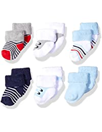 Luvable Friends Baby Newborn Terry Socks, 6 Pack