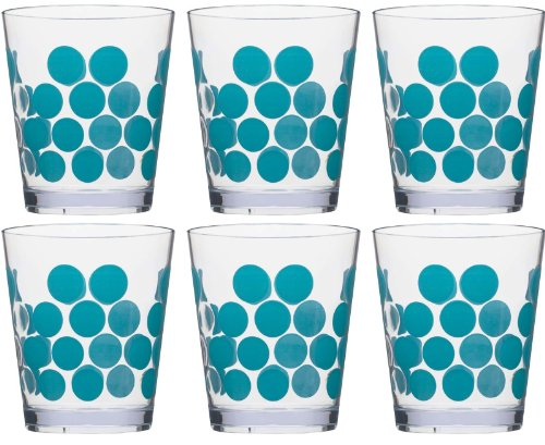 Zak Designs Dot Dot Double Old Fashioned Tumbler, 14-Ounce, Azure, Set of 6 by Zak Designs 14 Oz Double Old Fashioned