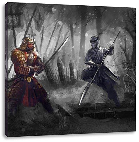 ai und Ninja B&W Detail, Format: 40x40 auf Leinwand, XXL riesige Bilder fertig gerahmt mit Keilrahmen, Kunstdruck auf Wandbild mit Rahmen, günstiger als Gemälde oder Ölbild, kein Poster oder Plakat (Kostüm Keine Kultur)