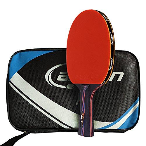 Caleson Tischtennisschläger mit doppeltem Carbon-Einsatz. Inklusive Hülle, AD Long-handle Red C (Ply Gewicht 4)